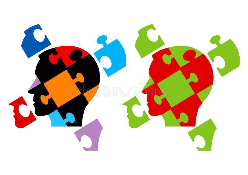 Puzzle heads symbolizing Psychology stock illustration