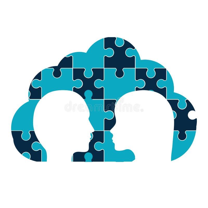 Puzzle heads teamwork support design vector illustration