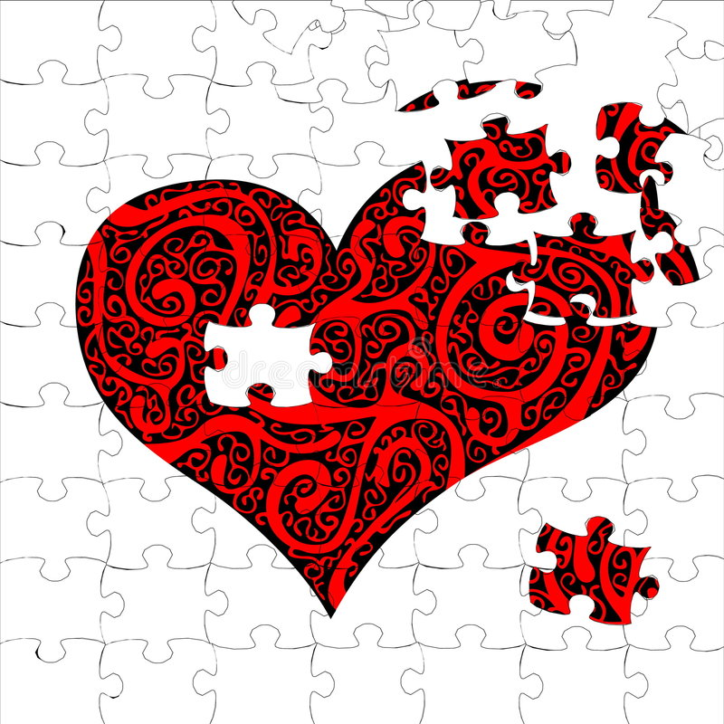 Puzzle heart stock illustration