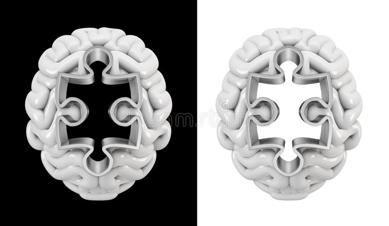Puzzle hole brain vector illustration