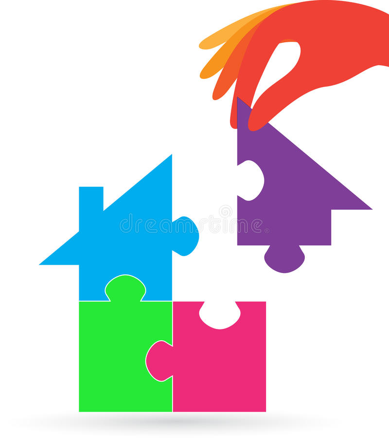 Puzzle home with hand vector illustration