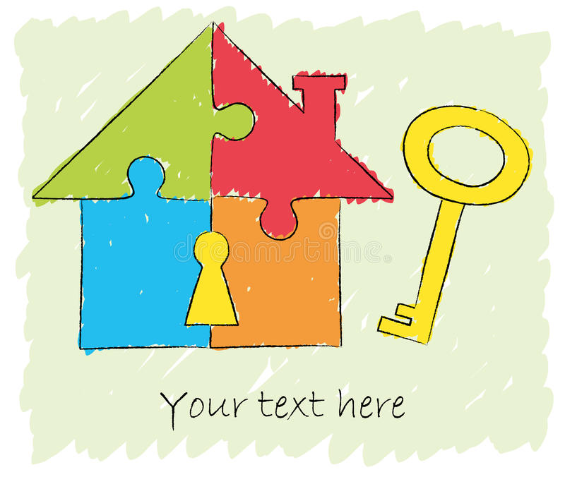 Puzzle house with key drawing royalty free illustration