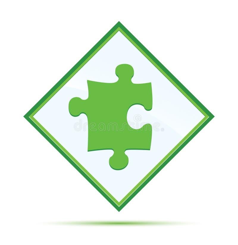 Puzzle icon modern abstract green diamond button vector illustration