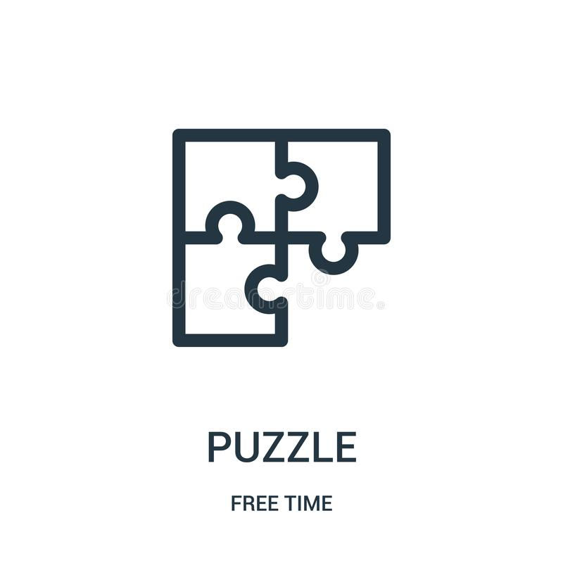 puzzle icon vector from free time collection. Thin line puzzle outline icon vector illustration. Linear symbol for use on web and vector illustration