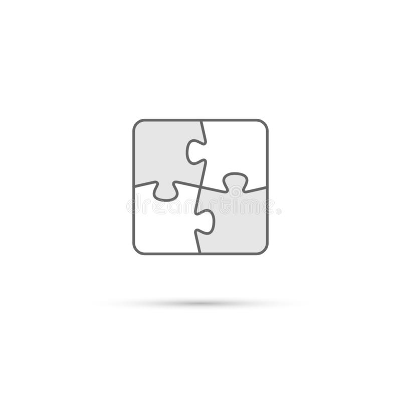 Puzzle icon. Vector white and gray puzzle pieces isolated on white background. stock illustration