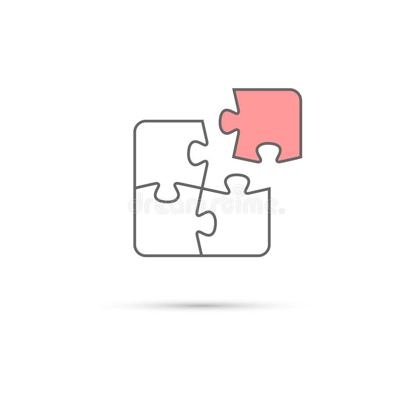 Puzzle icon. Vector white and pink puzzle pieces isolated on white background. stock illustration