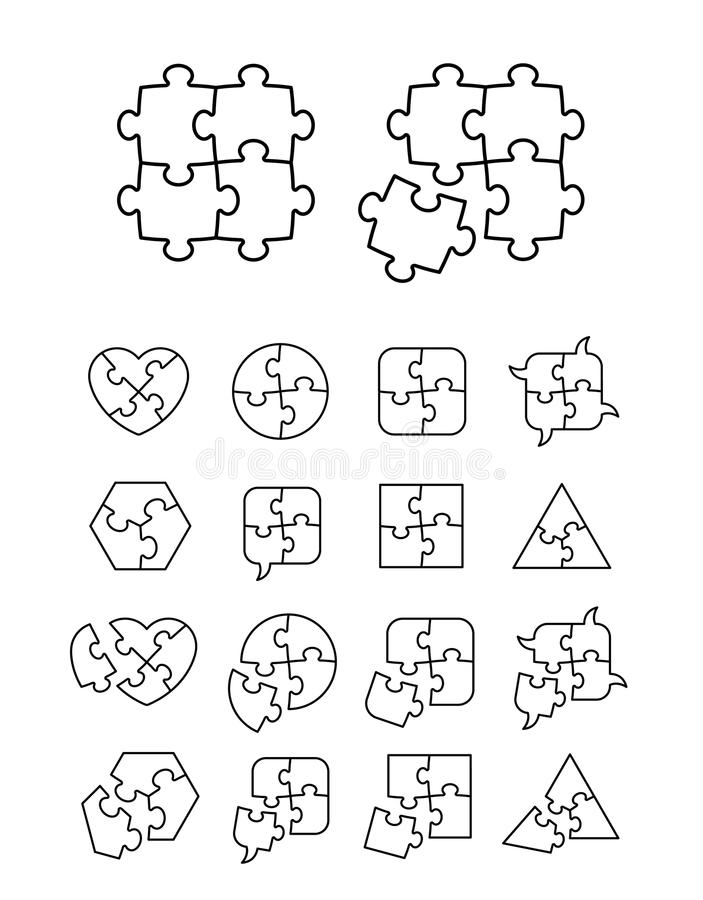Puzzle icons set - complete and incomplete. Vector illustration, editable for your design vector illustration