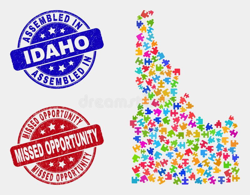 Bundle Idaho State Map and Distress Assembled and Missed Opportunity Watermarks. Puzzle Idaho State map and blue Assembled seal stamp, and Missed Opportunity royalty free illustration