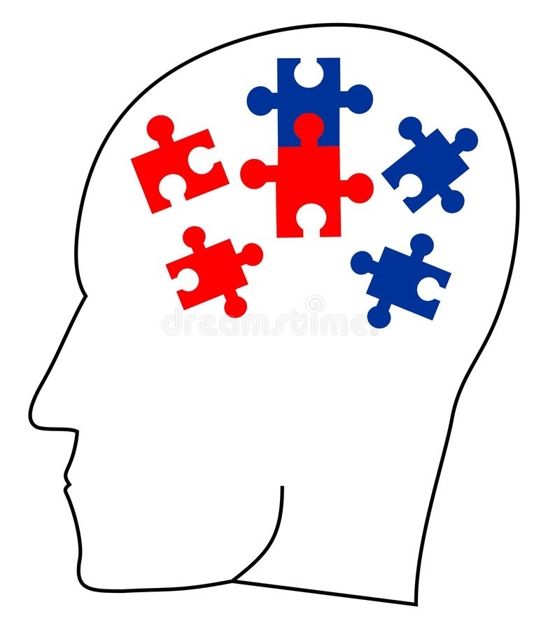 Puzzle ideas. Thinking head doing a puzzle royalty free illustration