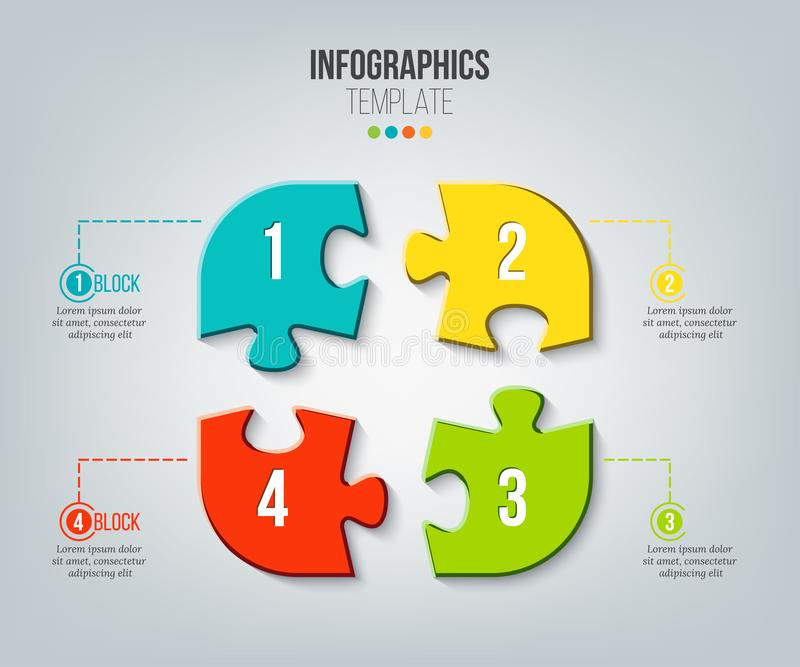 Puzzle infographics template. Vector illustration for your presentations. vector illustration