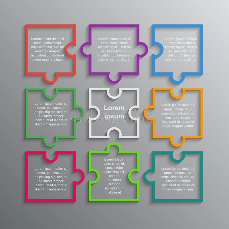 Puzzle Infographie Puzzle d'étapes du rectangle 9 illustration stock