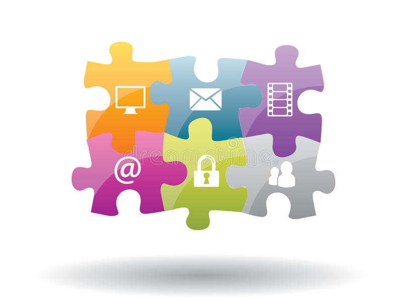 Puzzle integration with internet security. Puzzle integration of communication with internet security vector illustration