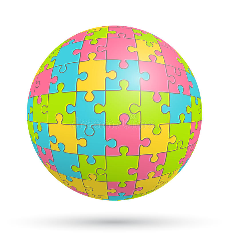 Puzzle Jigsaw Sphere on White royalty free illustration