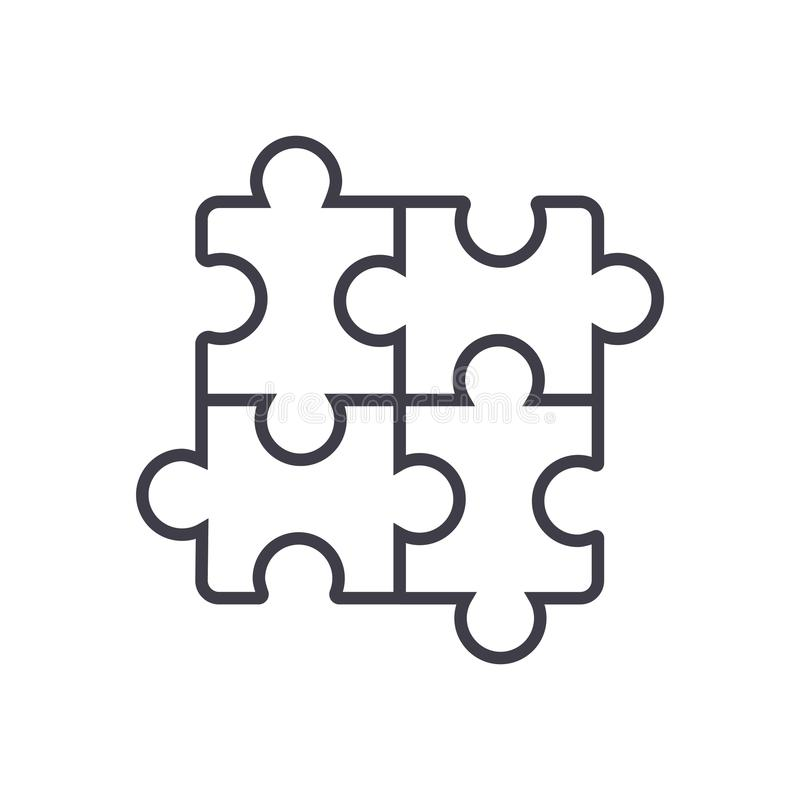 Puzzle,jigsaw vector line icon, sign, illustration on background, editable strokes royalty free illustration