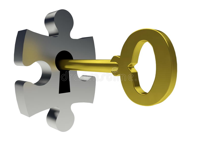 Puzzle and key royalty free illustration