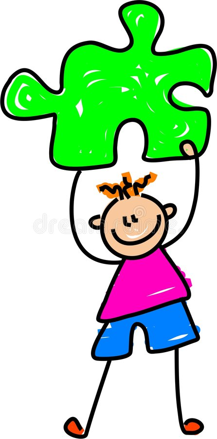 Puzzle kid stock illustration