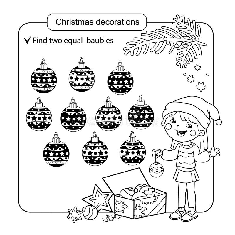 Puzzle for kids. Kid mind game. Assorted things to find the match. Christmas balls set. Coloring page for children. vector illustration
