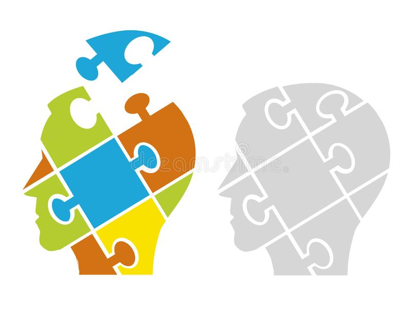 Puzzle male heads, psychology concept. vector illustration