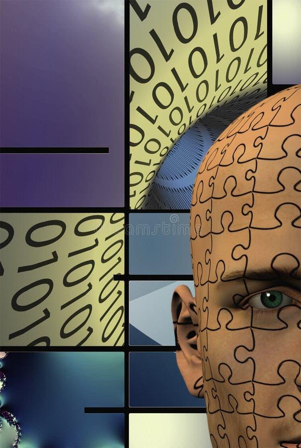 Puzzle Man Binary Background royalty free illustration