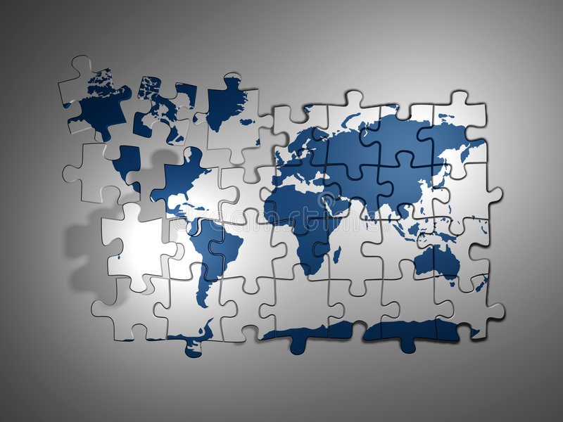 puzzle mapy świata royalty ilustracja