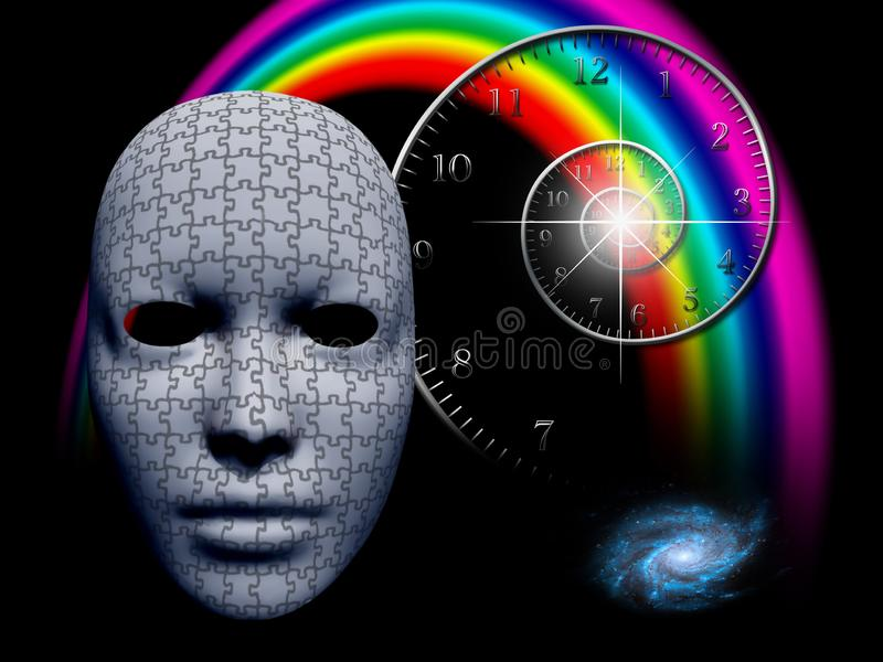 Puzzle mask and time spiral stock illustration