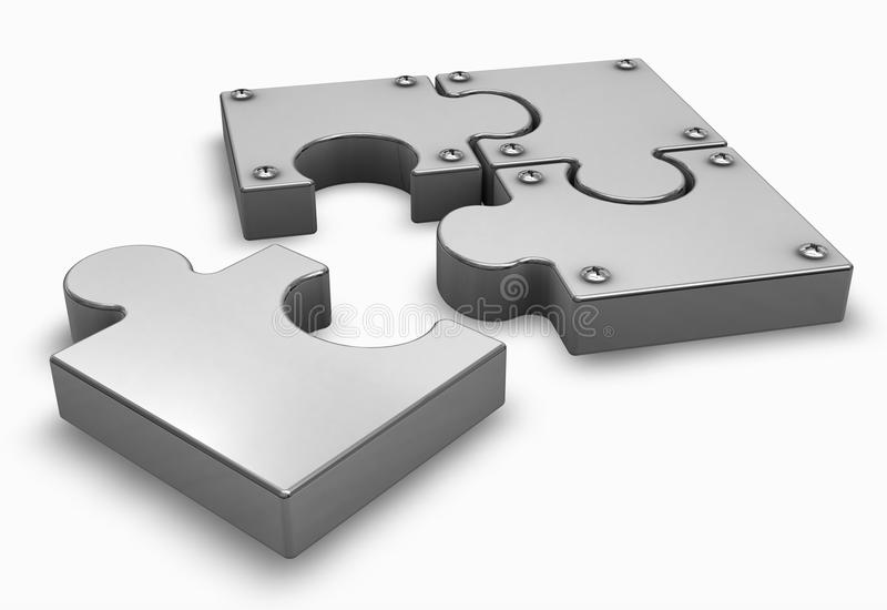 Puzzle missing part. Chrome puzzle on a white with missing part royalty free illustration