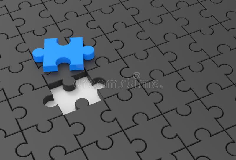 Puzzle mit fehlendem Stück Veranschaulichung 3D stock abbildung