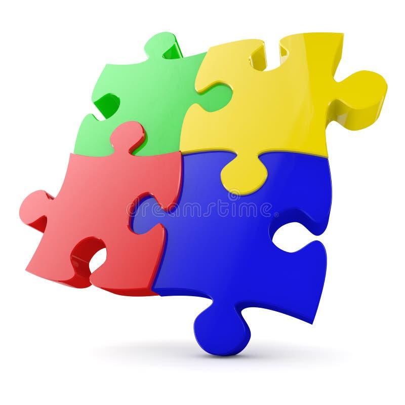 Puzzle mit vier Stücken vektor abbildung