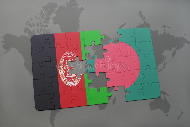 Puzzle with the national flag of afghanistan and bangladesh on a download puzzle with the national flag of afghanistan and bangladesh on a world map background gumiabroncs Choice Image
