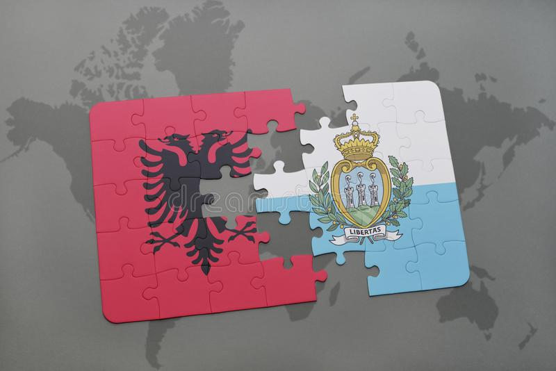 Puzzle with the national flag of albania and san marino on a world map background. 3D illustration stock image