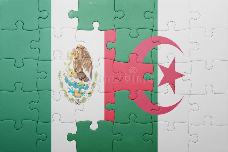 Puzzle with the national flag of algeria and mexico. Concept stock photo