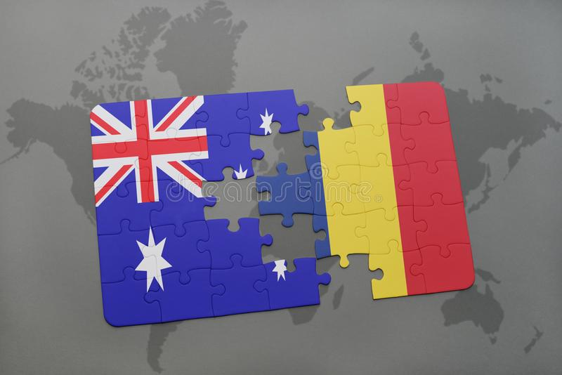 puzzle with the national flag of australia and chad on a world map background. royalty free stock photo