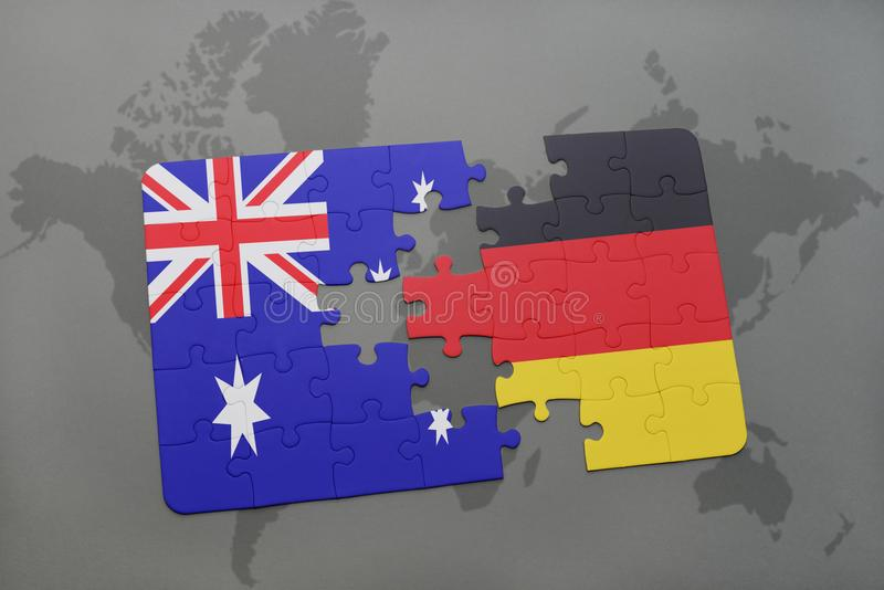 Puzzle with the national flag of australia and germany on a world map background. royalty free illustration