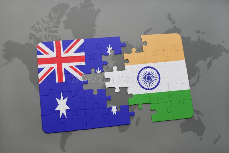 download puzzle with the national flag of australia and india on a world map background
