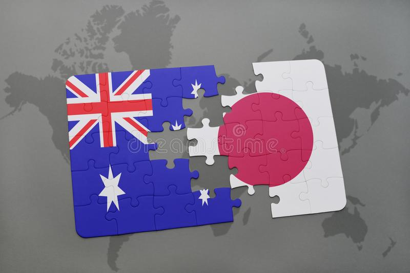 Puzzle with the national flag of australia and japan on a world map download puzzle with the national flag of australia and japan on a world map background gumiabroncs Images