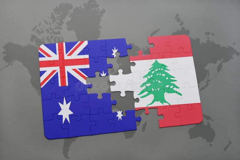 Puzzle with the national flag of australia and lebanon on a world download puzzle with the national flag of australia and lebanon on a world map background gumiabroncs Choice Image