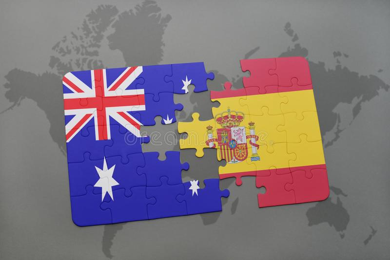 Puzzle with the national flag of australia and spain on a world map download puzzle with the national flag of australia and spain on a world map background gumiabroncs Images