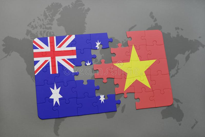 Puzzle with the national flag of australia and vietnam on a world download puzzle with the national flag of australia and vietnam on a world map background gumiabroncs Choice Image