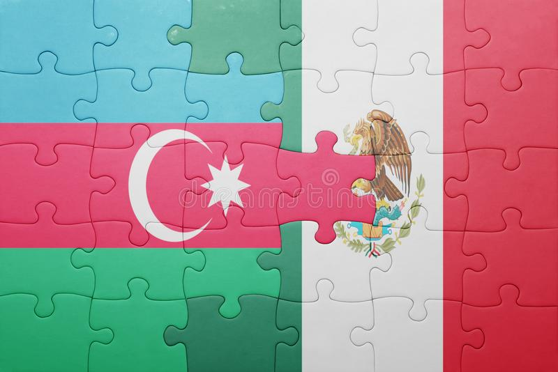 Puzzle with the national flag of azerbaijan and mexico. Concept royalty free stock photography