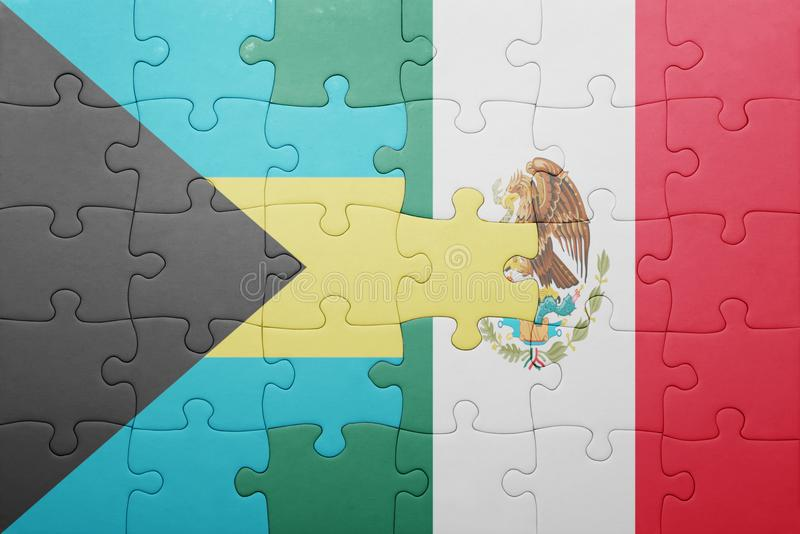 Puzzle with the national flag of bahamas and mexico. Concept royalty free stock photos