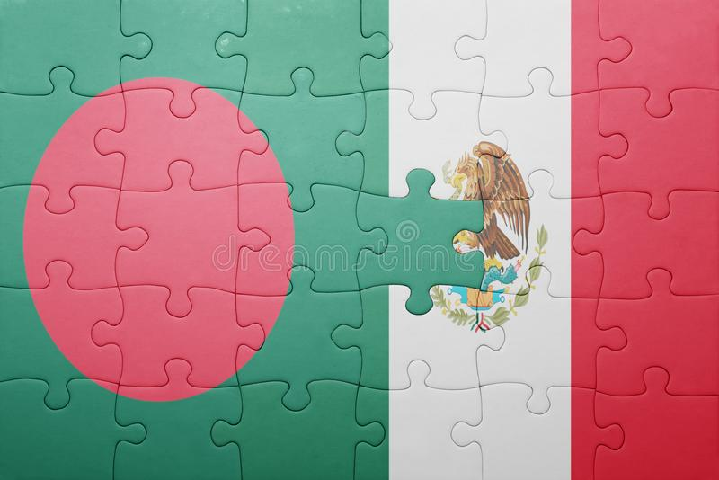 Puzzle with the national flag of bangladesh and mexico. Concept royalty free stock photo