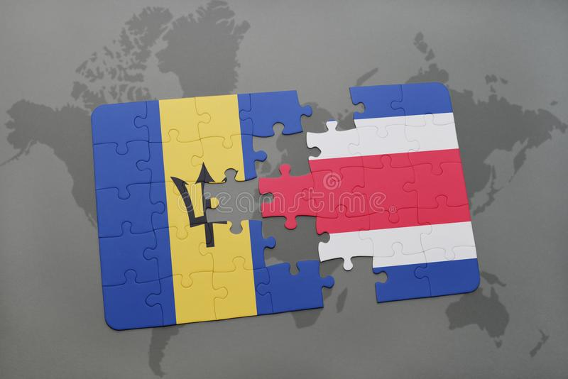 puzzle with the national flag of barbados and costa rica on a world map background. vector illustration