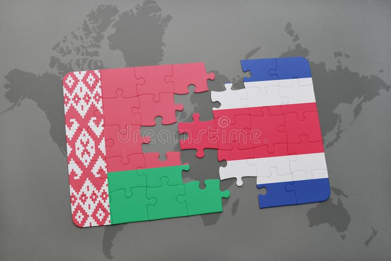 puzzle with the national flag of belarus and costa rica on a world map stock illustration
