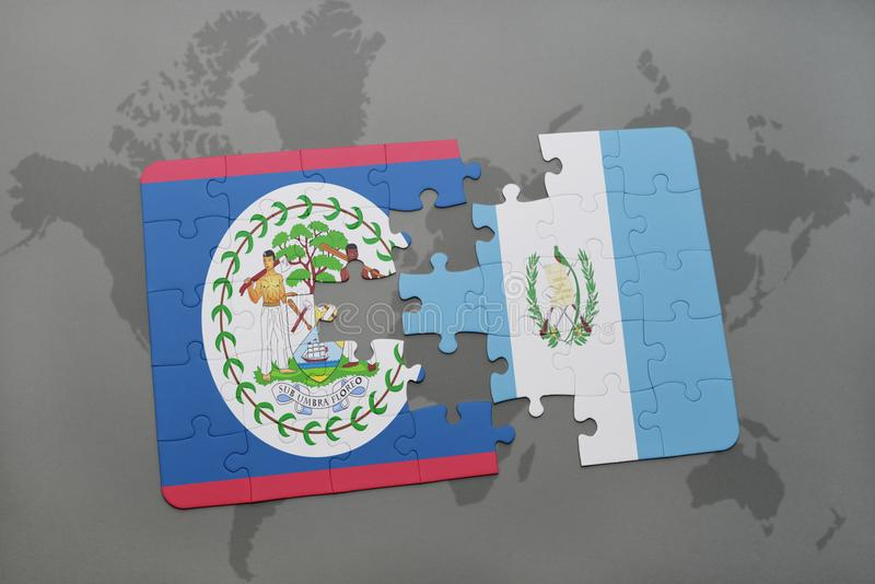 Puzzle With The National Flag Of Belize And Guatemala On A World Map