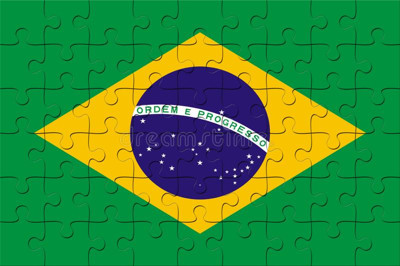 Puzzle with the national flag of Brazil vector illustration