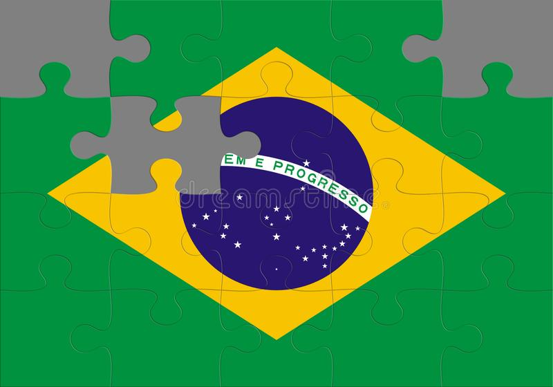 Puzzle with the national flag of Brazil royalty free stock image