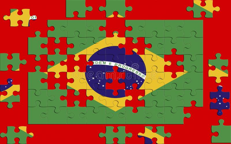 Puzzle with the national flag of Brazil royalty free stock photo