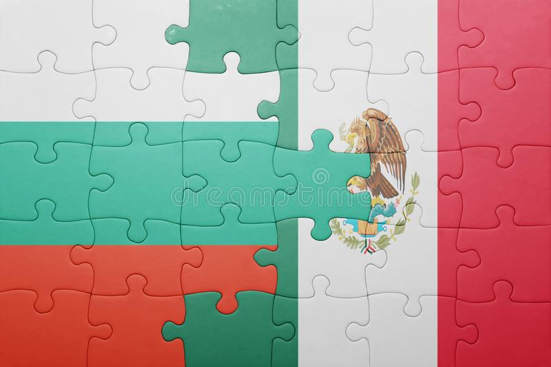 Puzzle with the national flag of bulgaria and mexico. Concept royalty free stock photo
