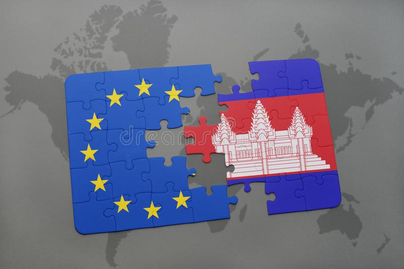 puzzle with the national flag of cambodia and european union on a world map stock photography