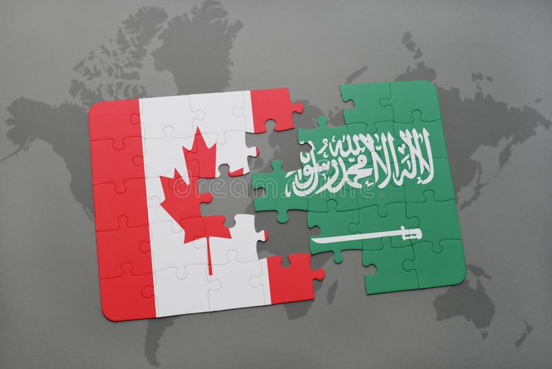 puzzle with the national flag of canada and saudi arabia on a world map background. vector illustration